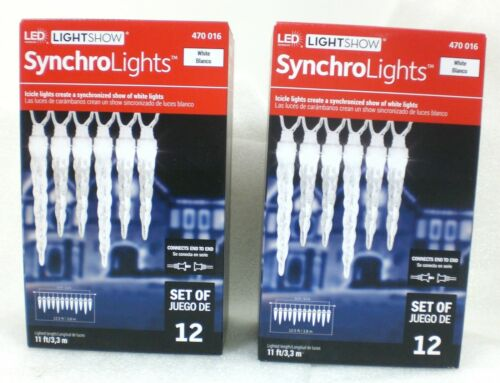 2 Boxes Gemmy Lightshow Synchro Lights 12ct WHITE ICICLE LED Lights 470-016  NEW