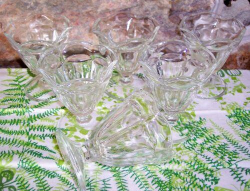 """6 vintage anchor hocking glass tulip sundae ice cream parfait dishes 4"""""""