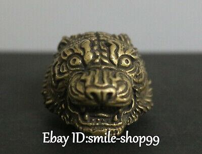Einzigartiges Bronze Tiger Löwe Leo Tiger Beast Head Anhänger Halskette Amulett