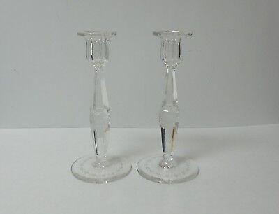 "Pair American Cut & Engraved Glass 8.75"" Candlesticks"