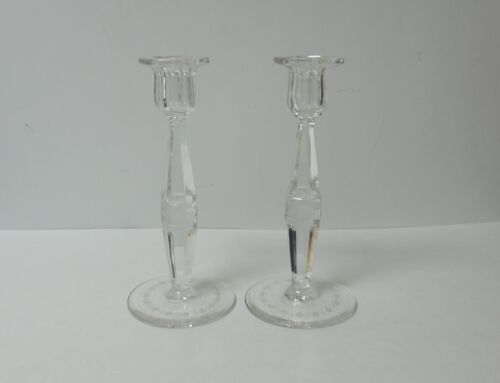 "Pair American Cut & Engraved Glass 8.75"" Candlesticks"