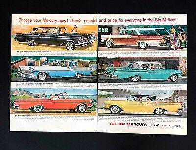 1957 Ford Mercury Advertisement 2 Pages Monterey Montclair Car Vintage Print AD