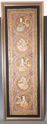 """Burma Kalaga Burmese Myanmar 18"""" x 52"""" Handmade Sequins Bead Gold Thread Figures"""