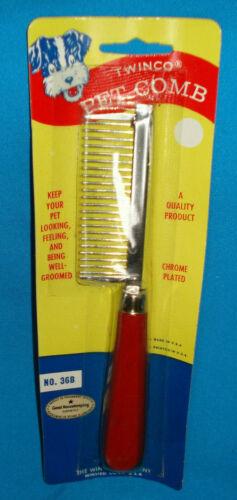 Vintage Metal Dog Grooming Comb By TWINCO No# 36B Wood Handle