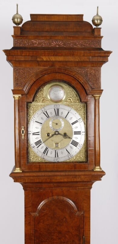 Richard Duck London 1750 Burled Walnut Longcase Grandfather Tall Case Clock