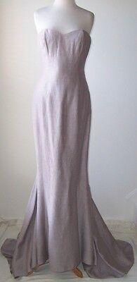 NINA RICCI Lilac Silk Linen Bustier Dress Gown 44  10  12
