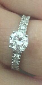 Platinum engagement and wedding band set