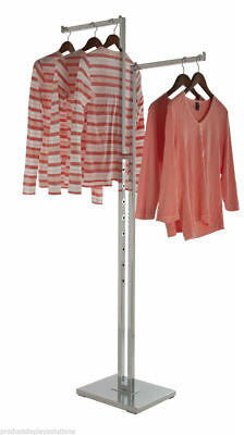2 Way Garment Display Rack With 2 Straight 16 L Arms Chrome