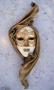 Gemini-Maschera-veneziana-artigianale-in-ceramica-e-cuoio-Pezzo-unico