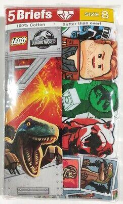Size 8 Boys Lego Jurassic Park 5 Pack Underwear Cotton Briefs Jurassic World