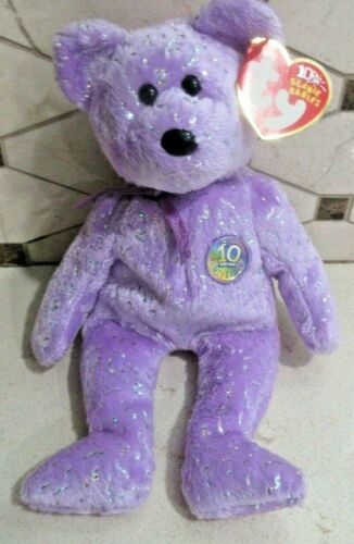 Ty Beanie Baby Decade Lavender Bear DOB January 22, 2003  MWMT