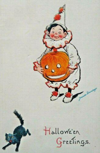 Vintage Halloween Postcard Brundage Series 123 Clown Boy Black Cat Unused Scarce