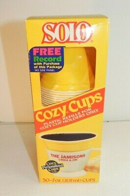 Vtg SOLO Cozy Cups Plastic Refills Retro NOS 7oz Coffee Size - Yellow MCM