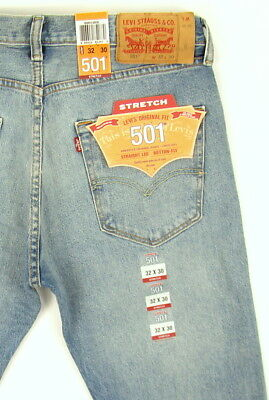 6f197cb1 ... Levis 501 Jeans Original New Mens Size 32 x 30 MED BLUE WITH STRETCH Levi's  NWT