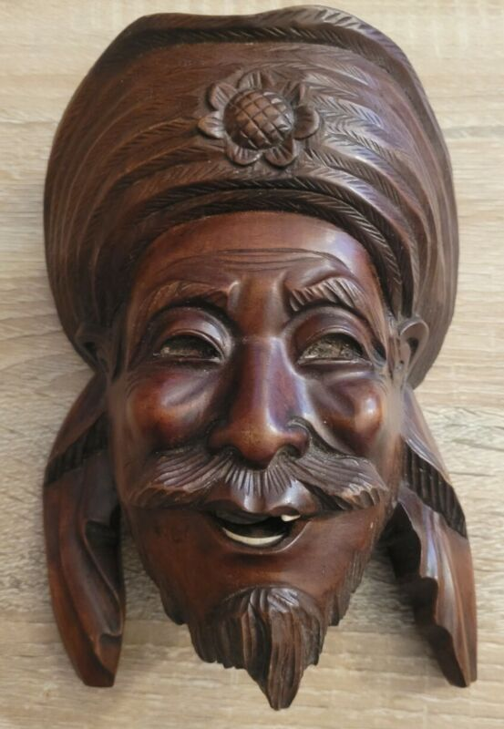 """Chinese Asian Oriental Wooden Hand Carved Mask  Wall Décor 8"""" Vintage"""