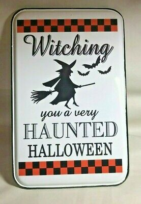 "Enamelware Witch Haunted Halloween White,Black,Orange 11"" x 17"" Metal Sign"