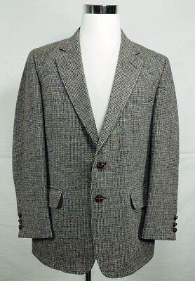 Lee's Harris Tweed Sz 42R 100% Wool Dark Gray 2 Button Blazer Jacket Half Lined