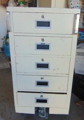 Vintage 5 Drawer Fenco Rolling File Cabinet