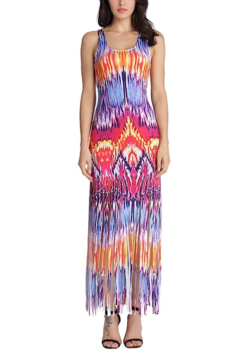 Vestito Copricostume Donna Frange Multicolore Maxi Dress Woman Cover up 110242