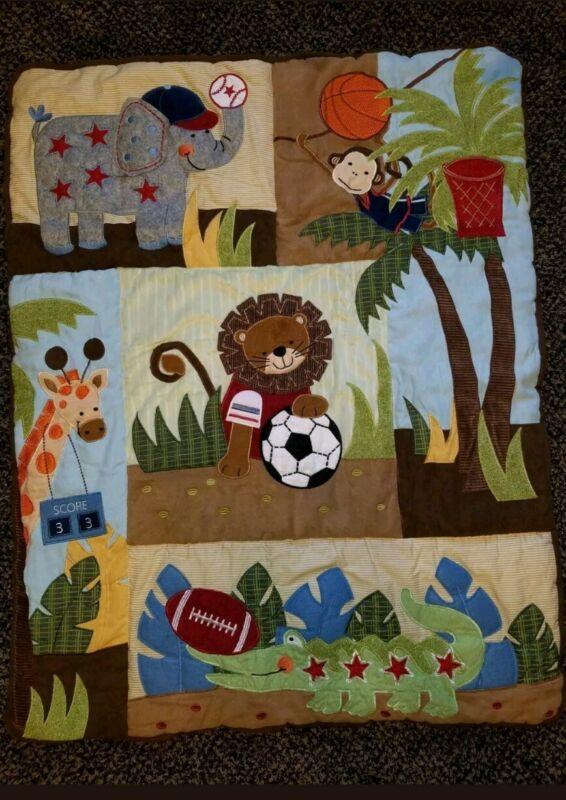 Jungle Safari Animal Sports Crib Bedding Quilt / Blanket / Comforter