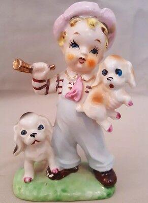 Vtg Brinnco Japan Bone China Boy Bibs Hat Puppies Horn Figurine Sticker Cute!!