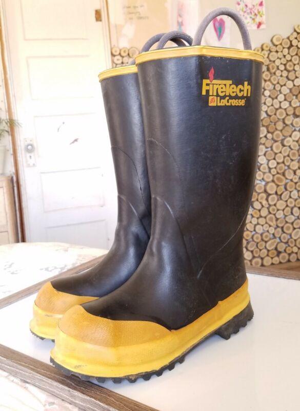 FireTech LaCrosse Steel Toe Firefighter Black Rubber Boots Men