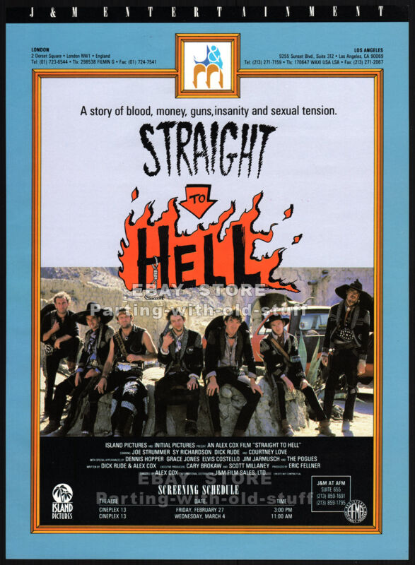 STRAIGHT TO HELL__Orig. 1987 Trade AD_screening promo_JOE STRUMMER_COURTNEY LOVE