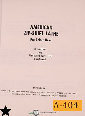 American Zip-shift Lathe Instructions And Parts Supplement Manual