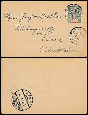 FRENCH GUINEA to AUSTRIA 1909 STATIONERY ENVELOPE FINE USED