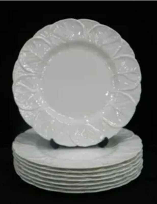 "8 ~ WHITE COALPORT COUNTRYWARE CABBAGE LEAF EMBOSSED SALAD PLATES ~ 8"" ~ England"