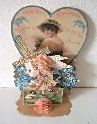 Amazing antique valentine gold windmill heart, birds dog Victorian vintage paper