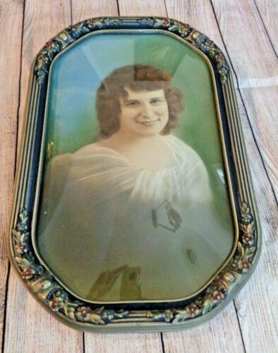 Vintage Antique Wood Convex Glass Ornate Bubble Picture Frame with Portrait
