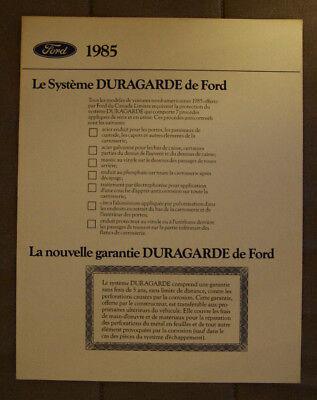 FORD DURAGARDE 1985 dealer brochure - French - Canadian Market