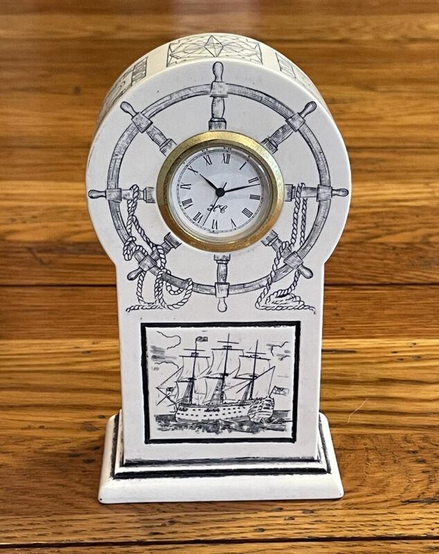 HMS Victory Faux Scrimshaw Clock