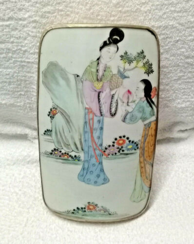 Antique Silver & Painted Porcelain Oriental Box