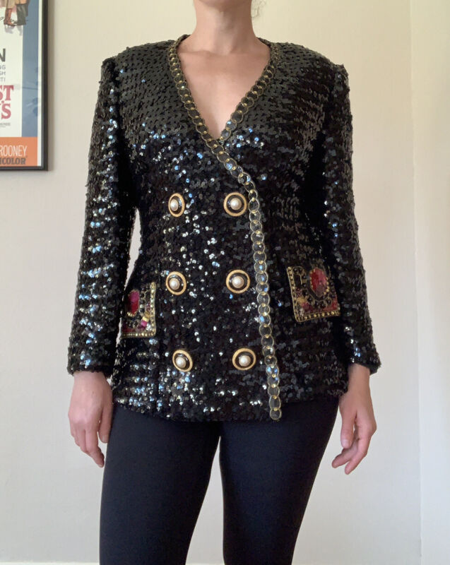 Vintage 90s Lillie Rubin Sequin Blazer Women's Size Large