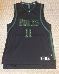 NWOT ADIDAS SWINGMAN MILWAUKEE BUCKS MONTA ELLIS Black Camo JERSEY Large