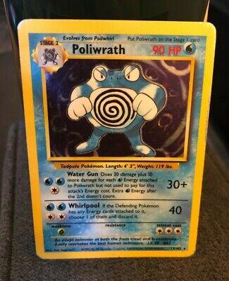 POLIWRATH 13/102 ORIGINAL BASE SET 1999 POKEMON HOLO FOIL RARE POKEMON CARD