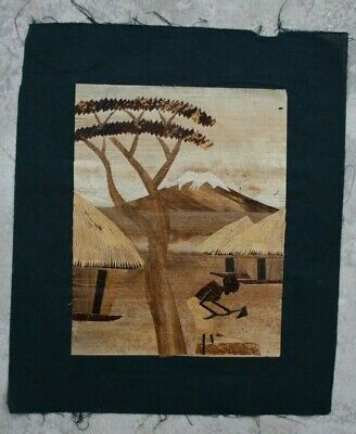 Vintage Marquetry Bamboo Wood Hand-crafted Folk Art on Textile - Africa???
