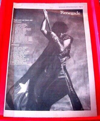 Thin Lizzy Renegade UK Tour Vintage ORIG 1981 Press/Magazine ADVERT Poster-Size