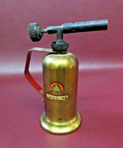 "Vintage 6.5"" Tall Lenk Mfg Co Gasoline Brass Soldering Blowtorch - Newton, Mass"