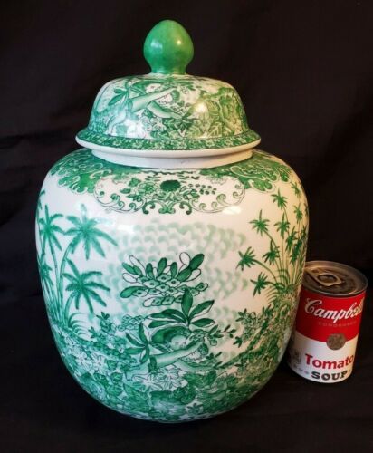 Chinese Ginger Jar Green & White with SEAL MARK Unusual Design