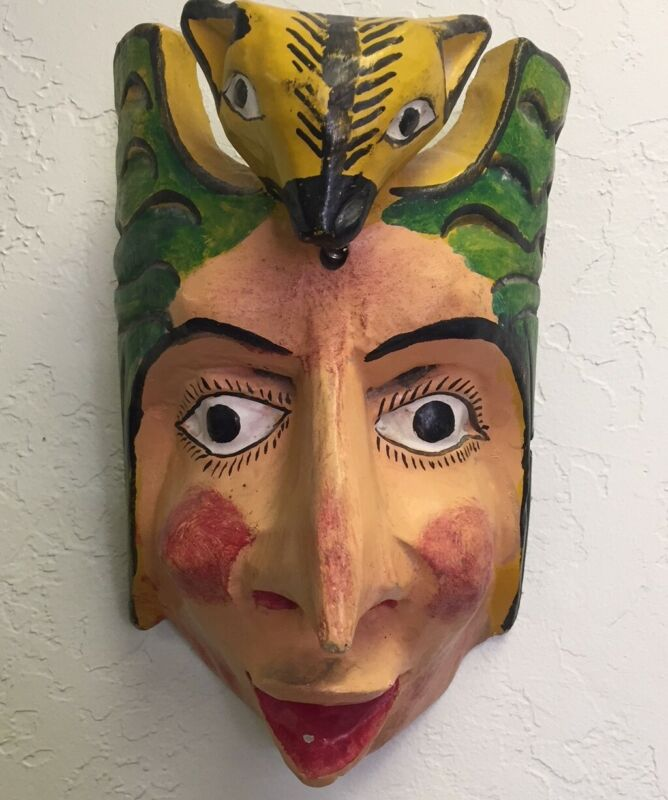 """Mexico Guerrero Mask Hand Carved Hand Painted Wood Folk Art 9.5"""" Tall x 6"""" Wide"""