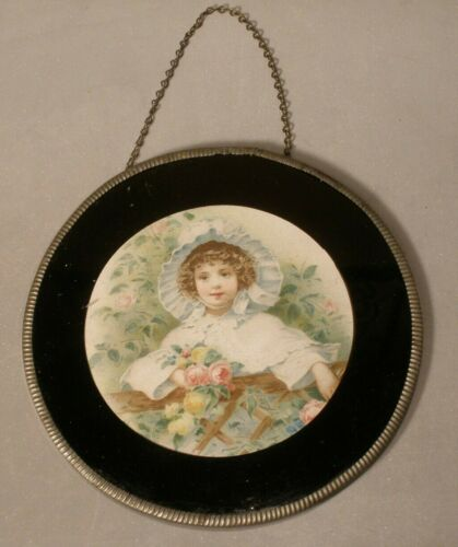 Vintage Small Size Flue Cover with Girl and Roses