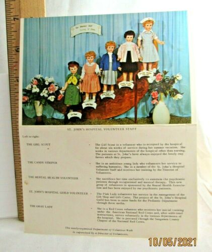 NEW 1950s POSTCARD Unusual RARE Girl Scout Doll, Hospital Volunteers Combine