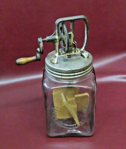 Antique Dazey 4-Quart Butter Churn w/ Original Wooden Paddle in Glass Jar #40