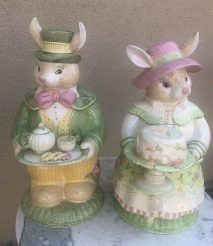 Vintage Set Ceramic Porcelain 2000 Tammany Devine Bunny Couple Cookie Jars MINT!