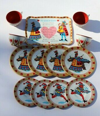 Vintage Queen of Hearts Child's Tin Lithograph Tea Set, Four Place Settings Heart Tin Tea Set