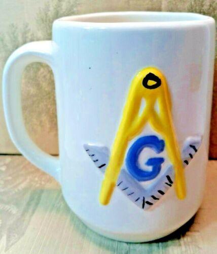 Vintage Masonic ANGLE & SQUARE Ceramic Coffee Cup Mug Freemason Mason Fraternal