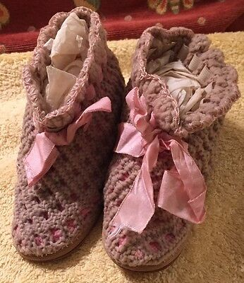 Antique Child's Knit Shoes with Leather Soles
